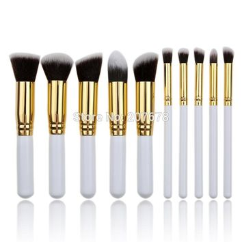 10 pcs Makeup Brushes Kit Fashion Mini Soft Face White Synthetic Kabuki Beauty Cosmetics Foundation Blending Blush Brush