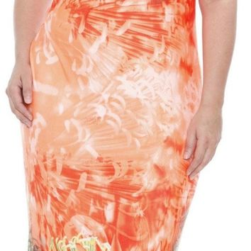Plus Size Jasmine Maxi Dress Orange Tea Length Sleeves