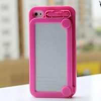 Hoter Creative Drawing Board Protective Case for iPhone 4/4S - Hot Pink