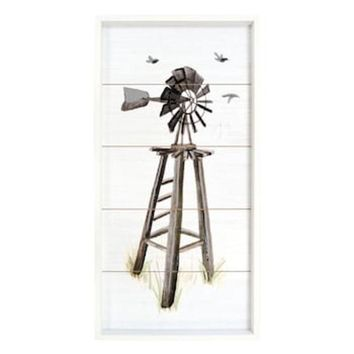 CREY7GX New View Windmill Planked Farmhouse Wall Decor
