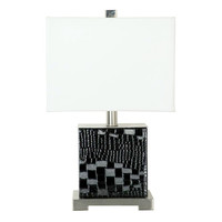 Black Faux Leather Accent Lamp 12-in
