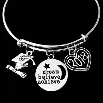 Graduation Jewelry 2018 Adjustable Bracelet Expandable Silver Charm Bangle Trendy One Size Fits All Gift Believe Dream