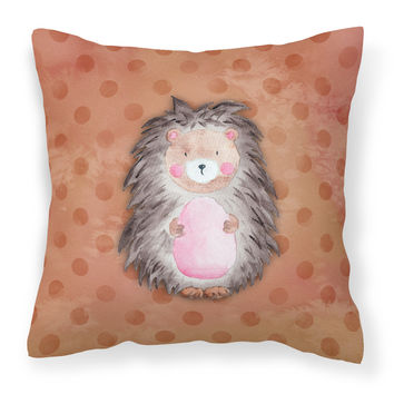 Polkadot Hedgehog Watercolor Fabric Decorative Pillow BB7378PW1414