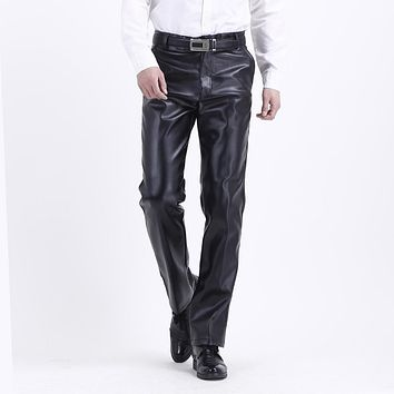 2016 Winter New Warm Windproof Motorcycle pu Leather pants male business Faux Leather Black Trousers 102003