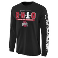Mens Ohio State Buckeyes Black 2014 College Football Playoff National Champions OH1O Long Sleeve T-Shirt