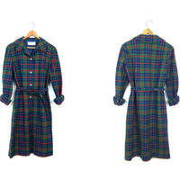 Vintage 60s Pendleton Plaid Wool School Girl Dress Green Blue Red Long Sleeve Preppy Fall Dress Button Front Knee Length Mini Dress Medium