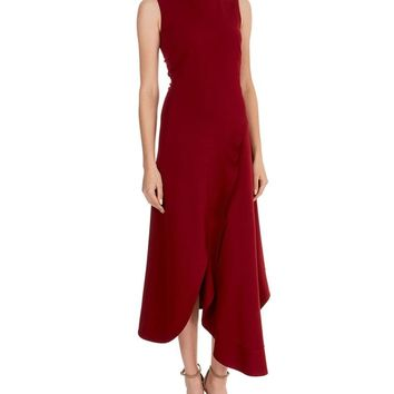 New Arrival Victoria Beckham Solid Dress Fashion O-Neck Sleeveless Asymmetrical Dresses