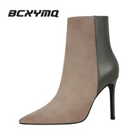 BCXYMQ 126-1 warm fur fashion women boots high heels 12 ankle boots sexy winter boots Pointed Toe women shoes