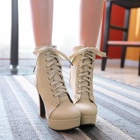 New Women Beige Point Toe Stiletto Lace-up Ankle Boots