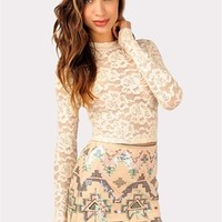 Long Live Lace Crop Top - Ivory at Necessary Clothing