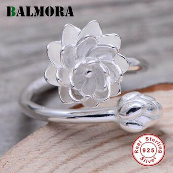 BALMORA 100% Real 925 Sterling Silver Lotus Flower Opening Rings for Women Lover Party Wedding Gift Jewelry Bijoux HR058003