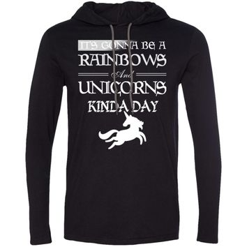 It's Gonna be a Rainbows and Unicorns black and white 987 Anvil LS T-Shirt Hoodie