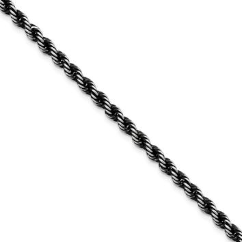 4mm Sterling Silver & Black Plated Solid Rope Chain Necklace