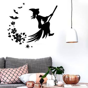 Wall Stickers Vinyl Decal Witch Broom Fly Magic for Kids Room (ig842)