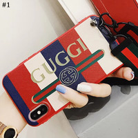 GUCCI tide brand color striped bracelet mobile phone shell iphone7plus lanyard protective cover #1