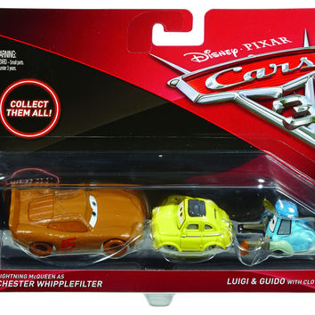 Disney Cars 3 Diecast 1:55 Scale Movie Moments 2 pack- Chester Whipplefilter Guido Luigi w/ Cloth