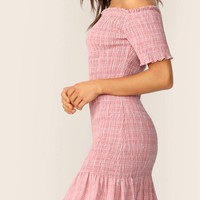 Off Shoulder Frill Trim Ruffle Hem Shirred Dress