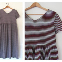 Vintage 90s striped dress. brown and white striped dress. cotton babydoll dress. size large