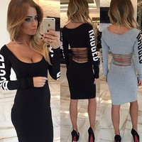 Winter Round-neck Print Hollow Out Sexy Women's Fashion One Piece Dress [9415808204]