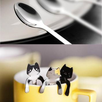 2pc My Cute Little Cat Stainless Steal Eating Drinking Stirring Decorative Spoons Set