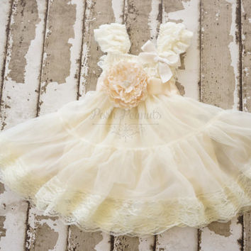 Flower girl dress - lace flower girl dress -girls ivory dress - baby ivory dress -Babydoll dress - tutu dress - flower girl dresses -baby