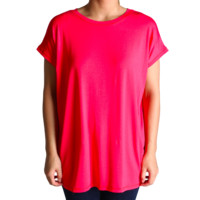 Hot Pink Rolled Sleeve Piko Short Sleeve Top