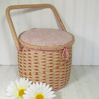 Retro Round Pink & White Sewing Basket with Square Handle - Vintage Wooden Box with Woven Wicker Top - Cushioned Floral Fabric Lid Carry All