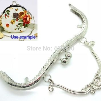 Free Shipping-1PC Metal Frame Kiss Clasp Lock Handle Arch For Purse Bag Silver Tone Ball 21cm x 9cm (Can Open :21 x 17cm),J2613