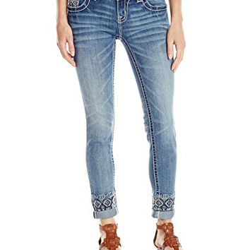 Miss Me Women's Embroidered Cuff Denim Cuffed Skinny Jean