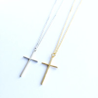 Cross Necklace, Gold Cross Necklace, Silver Cross Necklace, Religious Jewelry, Christian Jewelry