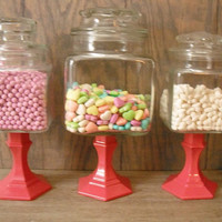 3 Wedding candy Buffet Pedestal jars .. Hot PINK pedestals upcycled storage apothecary Jars