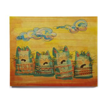 "Carina Povarchik ""Singing Cats"" Yellow Orange Birchwood Wall Art"