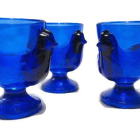 Vintage Cobalt Blue Glass Hen Egg Cups . French Chicken Egg Cups . Set of Three Egg Cups .