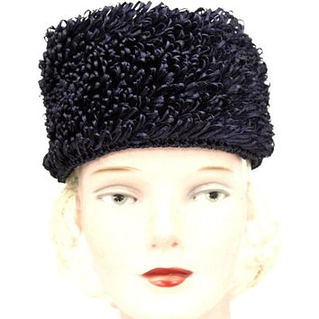 Vintage Crocheted Cellophane Straw Hat Toque Pillbox Navy Blue Italy O/S 1960s Womens