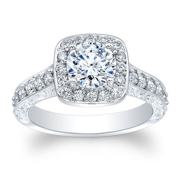 18kt white gold antique engagement ring with 1 ct natural Round Brilliant White Sapphire 0.60 ctw G VS2 natural diamonds