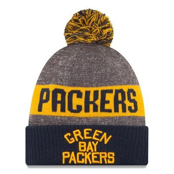 Green Bay Packers New Era Heather Gray 2016 Sideline Official Classic Pom Knit Hat