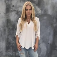 Nine to Five 3/4 Sleeve Blouse in Ivory