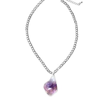 Luxe Silver Chain Quartz Necklace — Amethyst, Rose or Clear Quartz