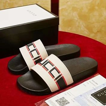 GUCCI 2018 new high quality men and women casual sports feet flat slippers white