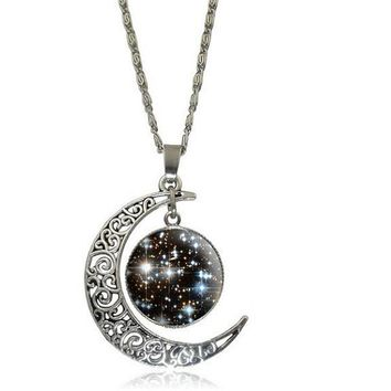 Galaxy Moon Universe Out of Glass Cabochon Pendant Necklace