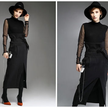 high waisted skirt,black skirt,elegant skirt,slit skirt,long skirts for women,winter skirt,fashion skirt,party skirt,business skirt.--E0746