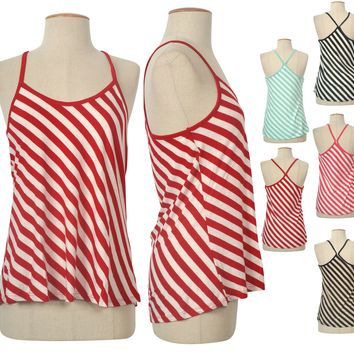 Sexy Bias Striped Crossback Sleeveless Spaghetti Strap Tank Top