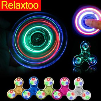 Crystal Fidget Hand Spinner LED Fantastic Glowing Twinkle Spinner EDC Finger Tri-spiner Light Funny Gyro Adult Kid Hero Toy Gift