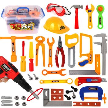37Pcs Repair Tools Toys Pretend Play Environmental Plastic Engineering Maintenance Tool Toy Kit for Children Child Gift Tool Toy