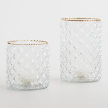 Gold Rimmed Glass Hurricane Candleholder
