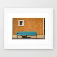 Bench by the Wall Framed Art Print by Errne