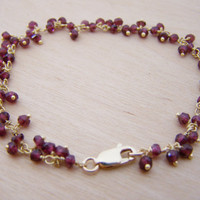 Garnet Gemstone 14k Yellow Gold Filled Wire Wrapped Bracelet / Gift for Her -