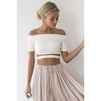 Off Shoulder Cut Out Short Sleeves Short Crop Top