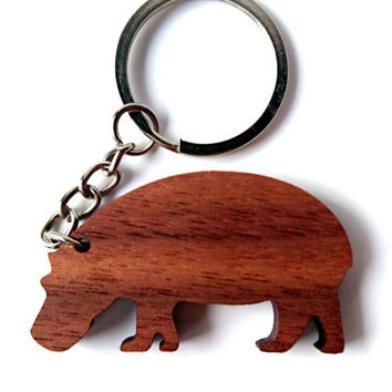 Wooden Hippo Keychain, Walnut Wood, Animal Keychain, Environmental Friendly Green materials
