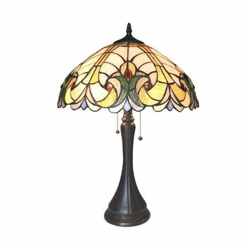 "Amor Tiffany-Style 2 Light Victorian Table Lamp 16"" Shade"
